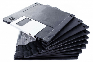 A stack of floppy disks