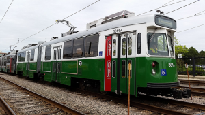 A rehabilitated Green Line car of the Massachusetts Bay Transit Authority